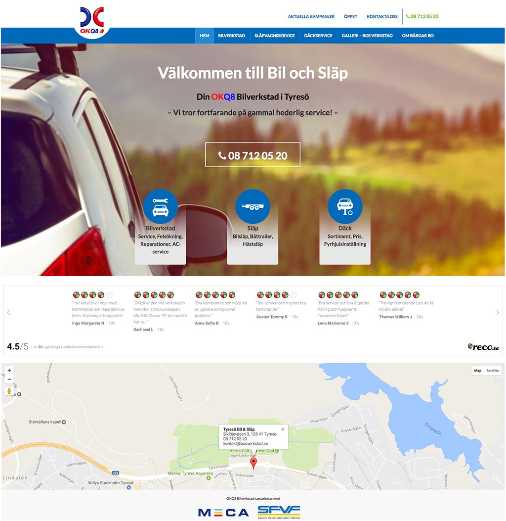 Bil och Släp i Tyresö visar upp rekommendationer på sin hemsida