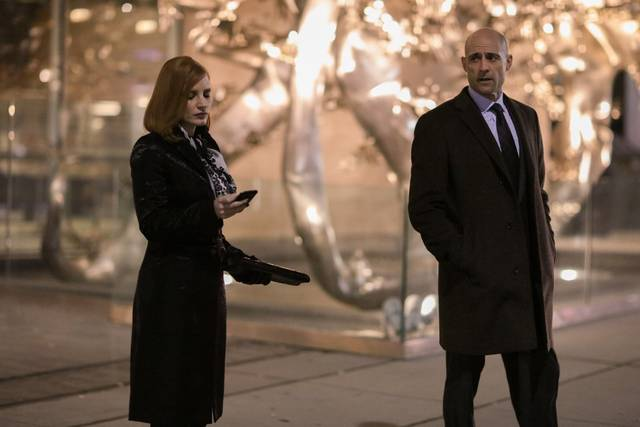 Miss Sloane Mark Strong Jessica Chastain foto dal film 1