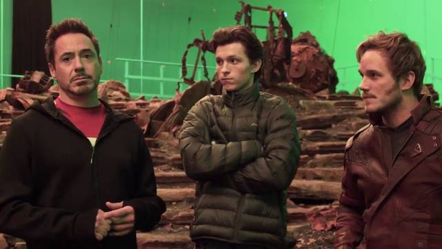 Avengers - Infinity War Robert Downey Jr. Chris Pratt Tom Holland foto dal set