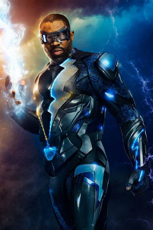 Black lightning costume mid