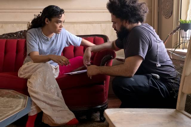Creed II - Tessa Thompson ed il regista Steven Caple Jr._foto dal set del film 2