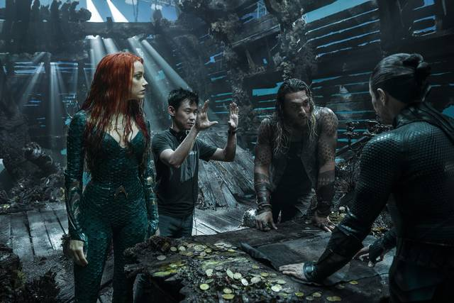 Aquaman_Jason Momoa Amber Heard ed il regista James Wan_foto dal set del film 1