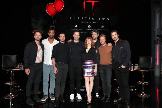 IT CAPITOLO DUE_Bill Hader James McAvoy James Ransone Jay Ryan Jessica Chastain Isaiah Mustafa Andy Bean Taylor Frey_conferenza stampa foto 3
