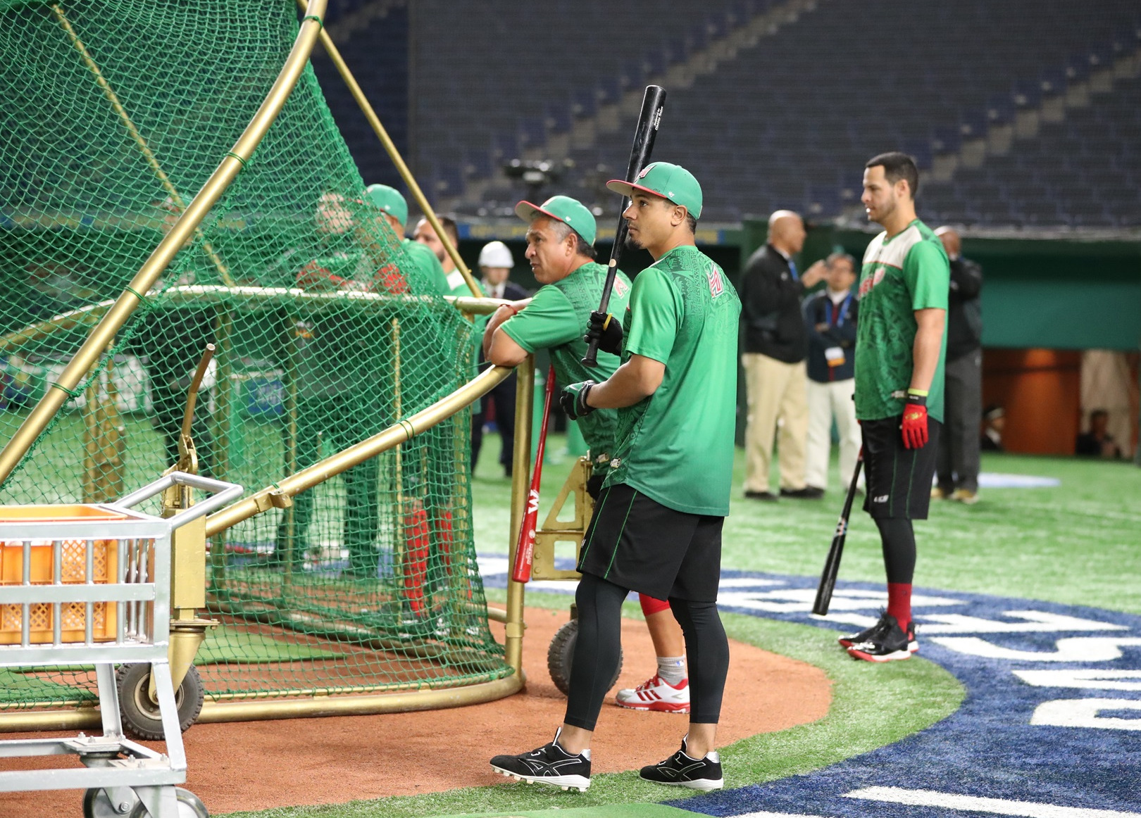 Mexico takes batting practice before the game