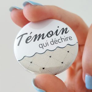 badge mariage témoin taupe