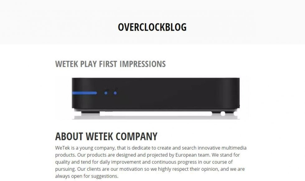 WeTek Play unboxing and review by Overclockblog