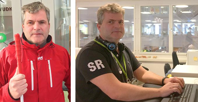 Bild på synskadade Johan Larsson som fick hjälp från LVI med arbetsplatsanpassning och nu kan arbeta heltid på Axfood.