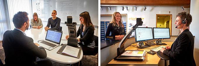 Två bilder där den ena visar en grupp människor som har möte där en av personerna har en dator kopplad till en läskamera. Den andra bilden visar en kvinna arbetandes i en reception som har datorer kopplade till en läskamera.