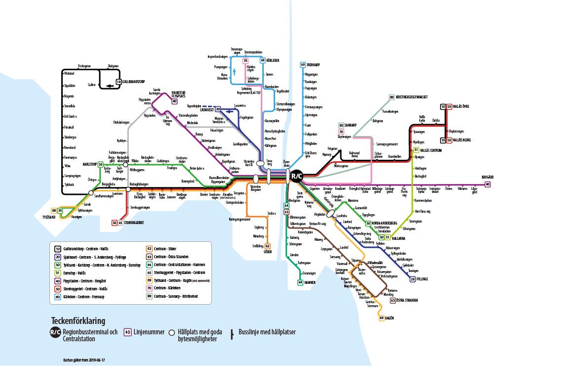 Hallandstrafiken Linje Och Stationskartor Halmstad