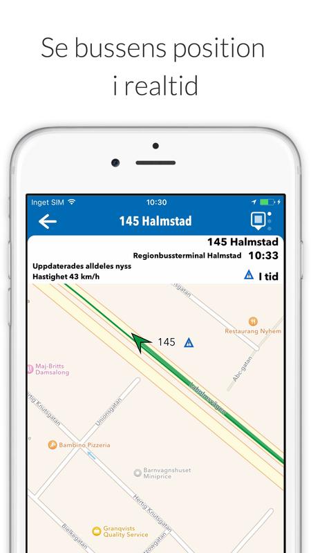 Bussens position mobilapp