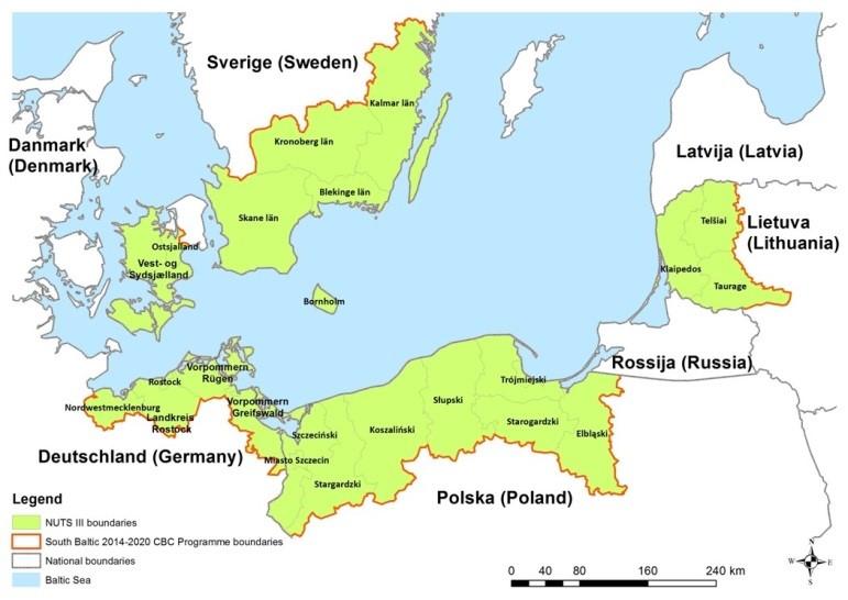 Karta Skane Och Danmark.Sodra Ostersjoprogrammet