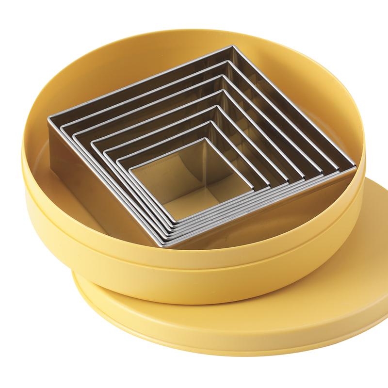 Fyrkantig utstickarsats, 7-delig,måttomr. 40-100 mm