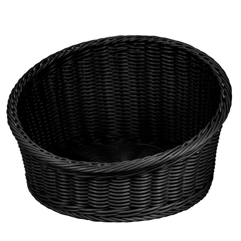 Brödkorg, rund ,svart, diskbar, Ø 360xH200/100 mm