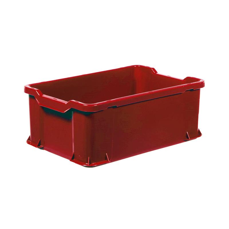 Plastback, röd, 600x400x225 mm, 40 L