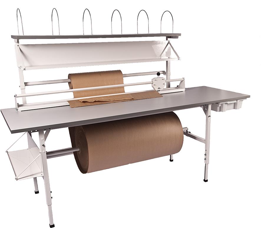Packbord fristående, grå, 2400x800mm, med ö ställning