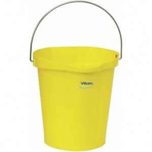 Hink 12 liter,rostfritt handtag, gradering, gul