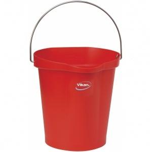 Hink 12 liter, rostfritt handtag, gradering, röd