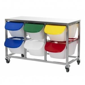 Arbetsbord,RF, med 12x15 liters behållare