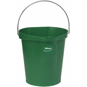 Hink 12 liter, rostfritt handtag, gradering, grön
