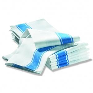 Handduk, 6-pack vit m blå rand