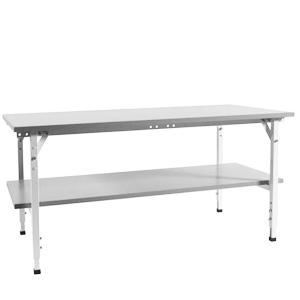 Arbetsbord standard, grå, 2400x800mm, m u hylla