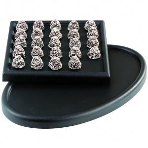 Uppl.bricka svart oval 550x350xH35 mm