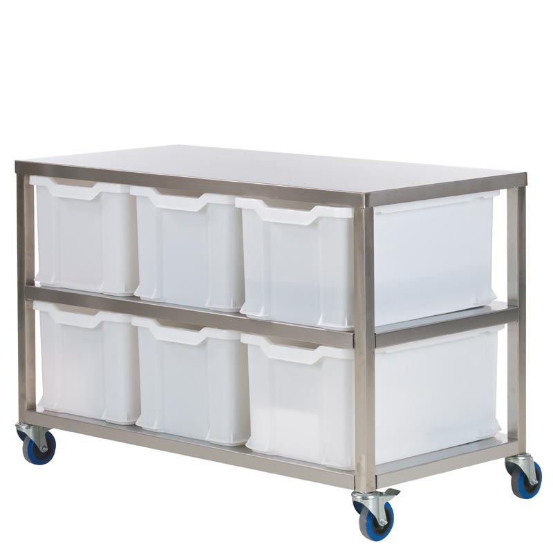 Uppvägningsbord 1280x600xH 820, 6 backar 54 lit