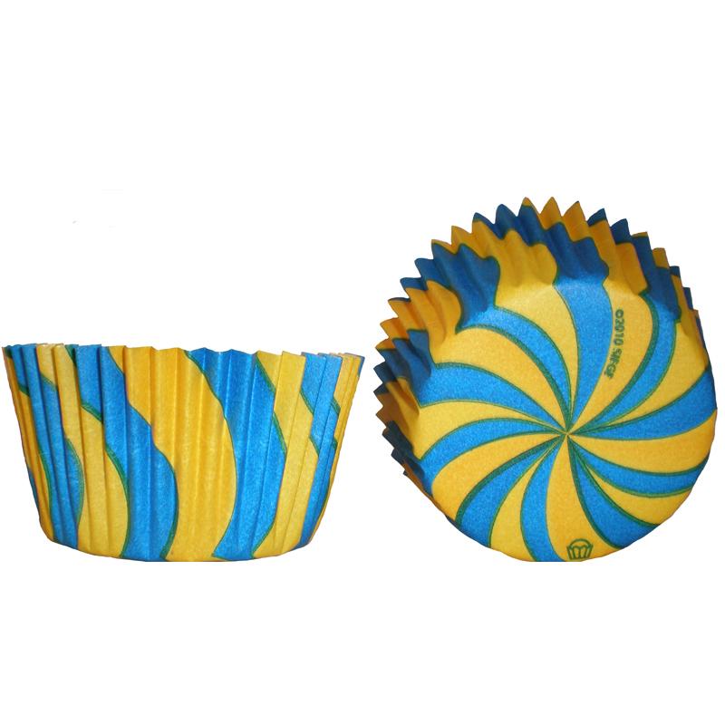 Muffinsform Virvel gul/blå  Ø50xH35mm