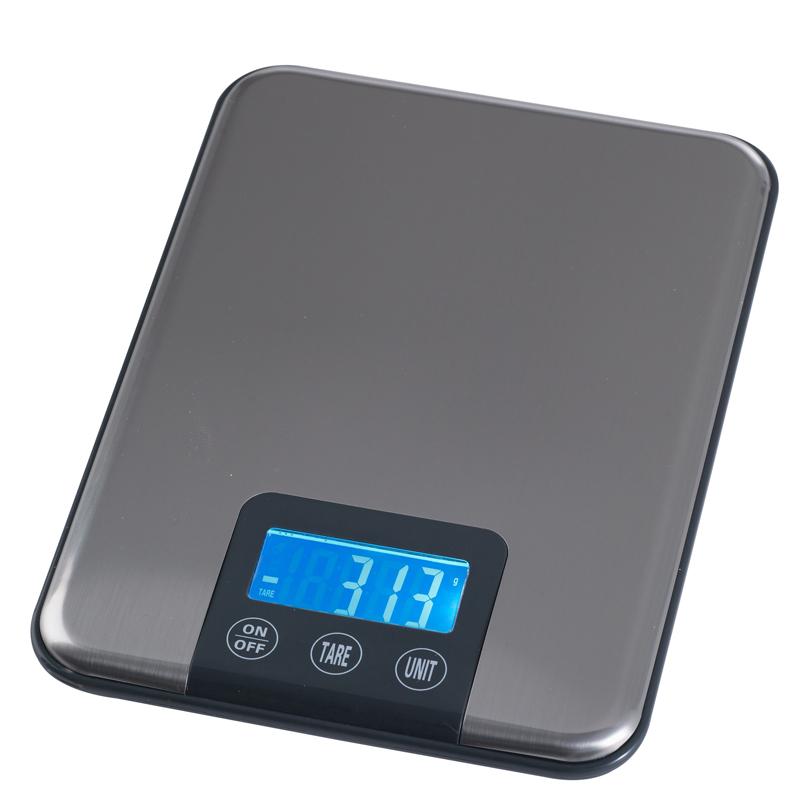 Elektronisk våg, 5 kg, 1 gram delning, platta 150x150, batte