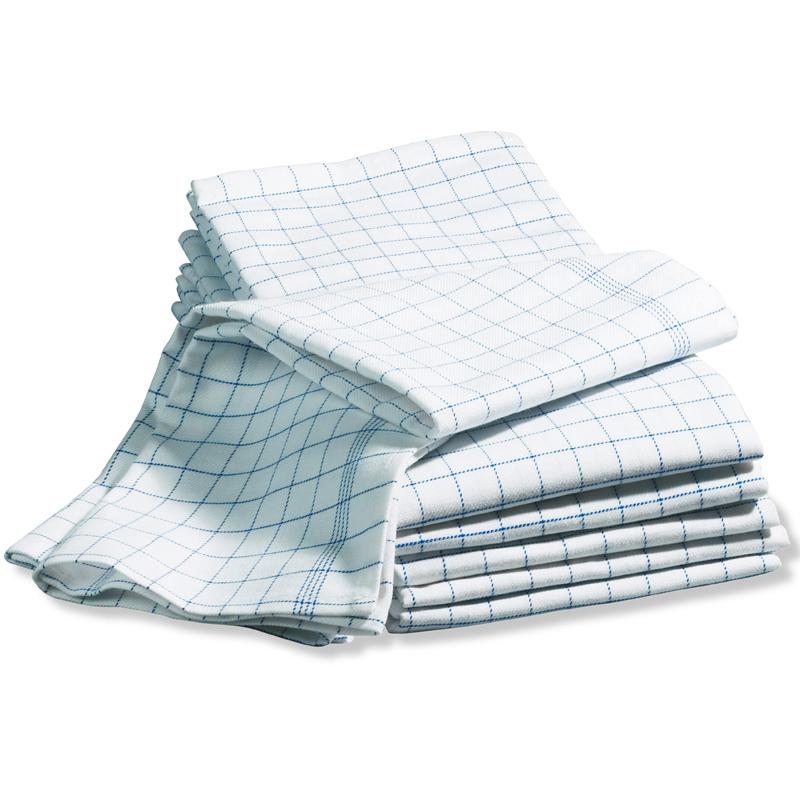 Handduk, 6-pack vit m blå rutor