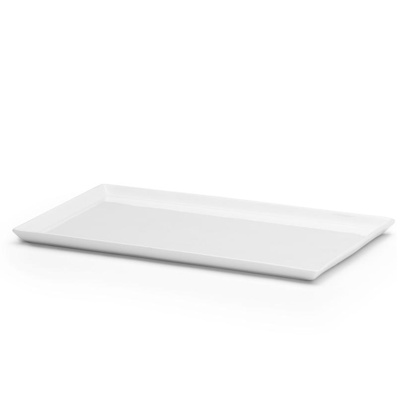 Fat låg kant, vit porslin  350x210 mm