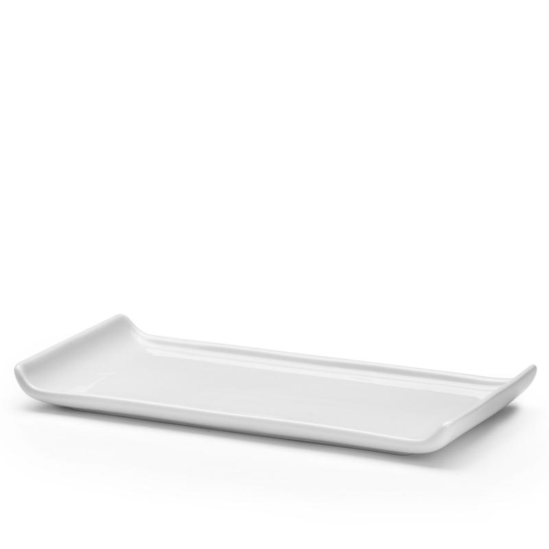 Släde, uppläggningsfat 410x140 mm, vit porslin