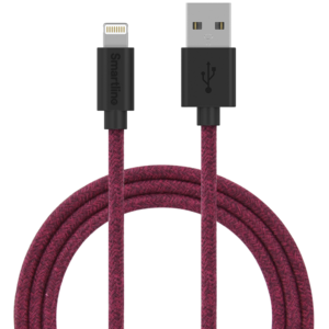 SmartLine USB cable Lightning 2m Fabric Dark Purple/Red
