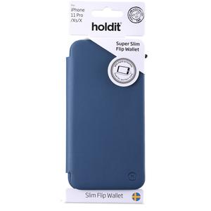 Holdit Slim Flip Wallet iPhone 11 Pro Navy Blue