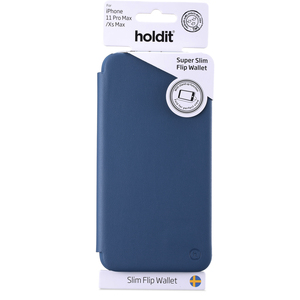 Holdit Slim Flip Wallet iPhone 11 Pro Max Navy Blue