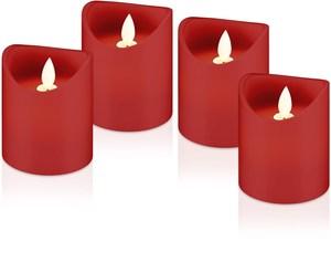 Set med 4 LED riktiga vaxljus, röd