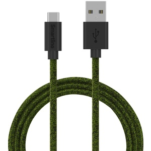SmartLine USB-C/USB-A 2.0 cable 2m Fabric Fuzzy Green