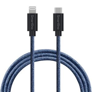 SmartLine USB Cable Lightning-USB-C 2m Fuzzy Blue