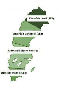 En karta över Sveriges olika Elområden som Alvesta Energi ansvarar för.