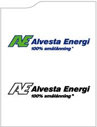 Alvesta Energis logotyp i färg och svartvit.