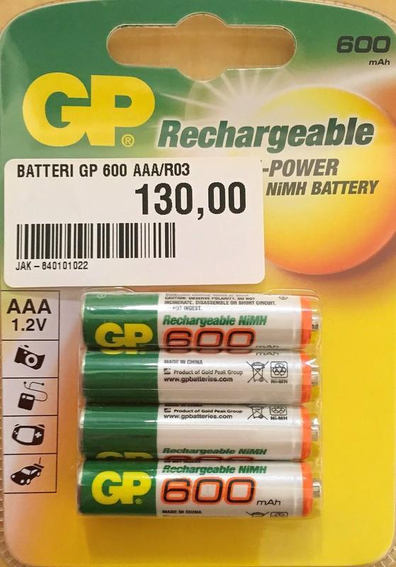 GP 600 AAA 1.2V Laddningsbara