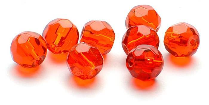 Darts Glass Beads Faceted Red - 6 mm