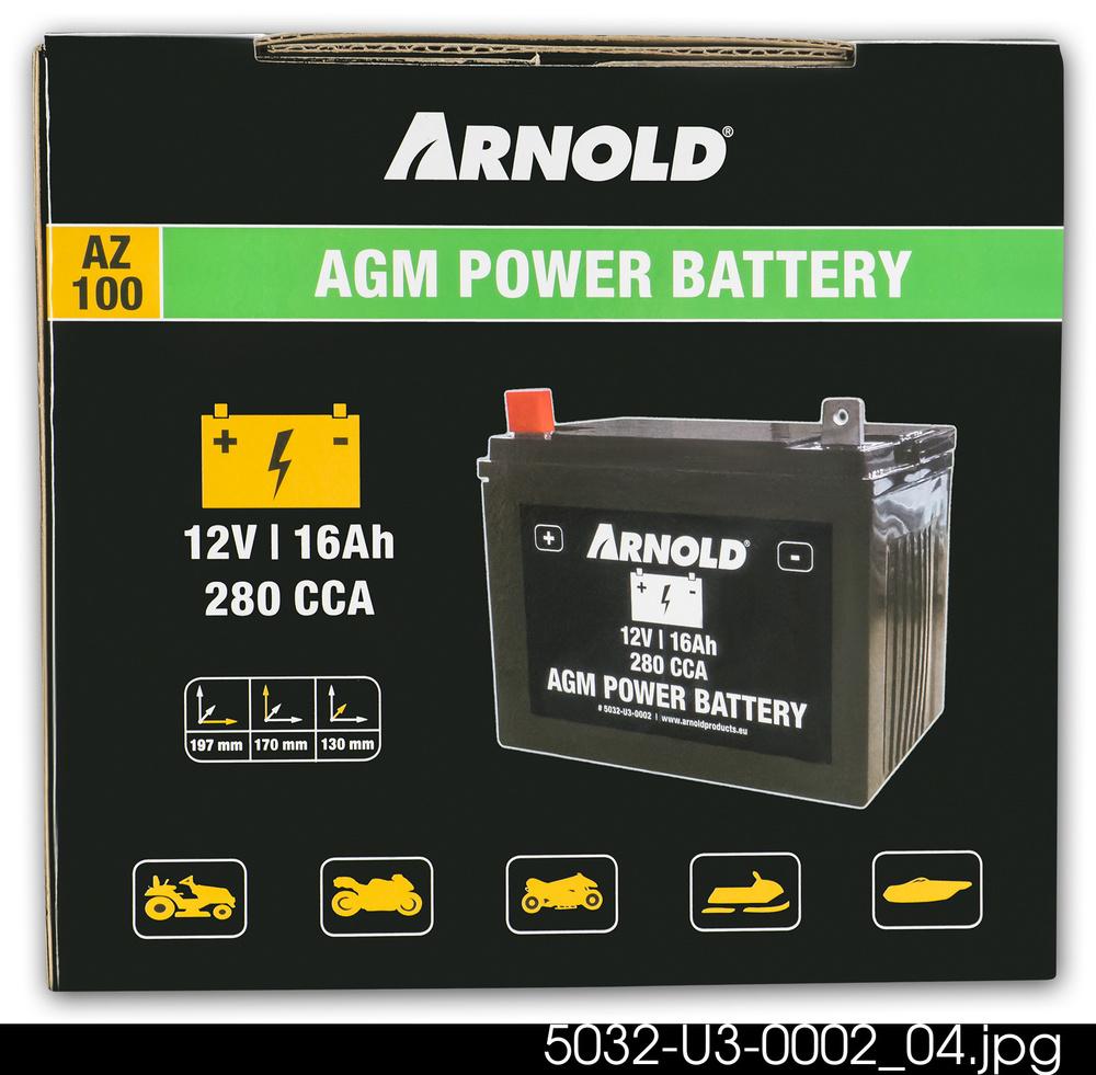 Batteri AGM 12V 16 Ah 280 CCA - Arnold *