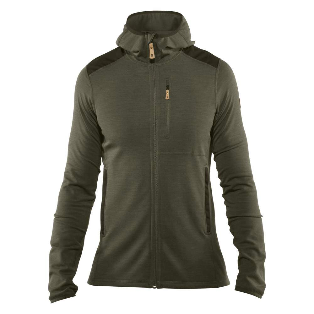Keb Fleece Hoodie M Fjällräven - Laurel Green/Deep Forest