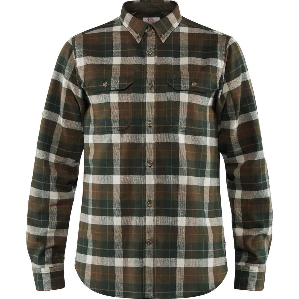 Singi Heavy Flannel Shirt M Fjällräven - Deep Forest
