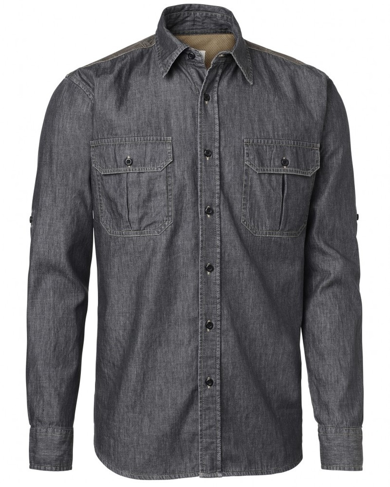 Rubavu Safari Twill Shirt LS Chevalier - Grey