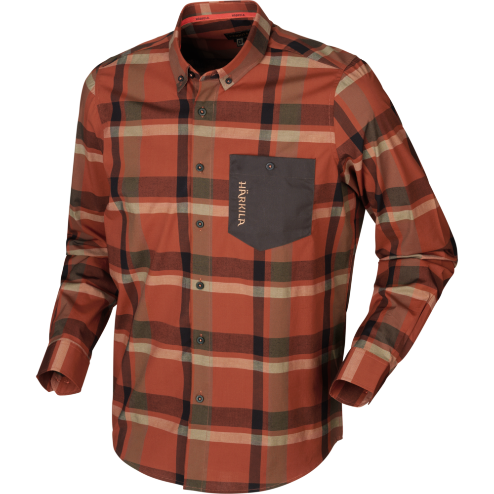 Amlet L/S Skjorta Härkila - Dark Burnt Orange Check