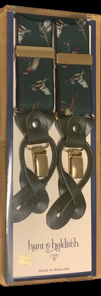 Hunt & Holditch Hängslen Läder - Olive