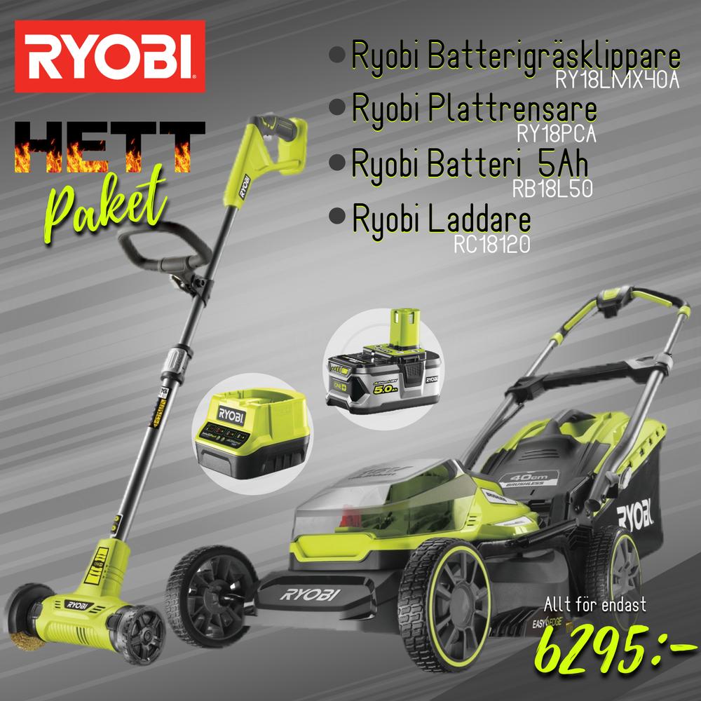 Ryobi RY18LMX40A Batterigräsklippare/Plattrensare Paket
