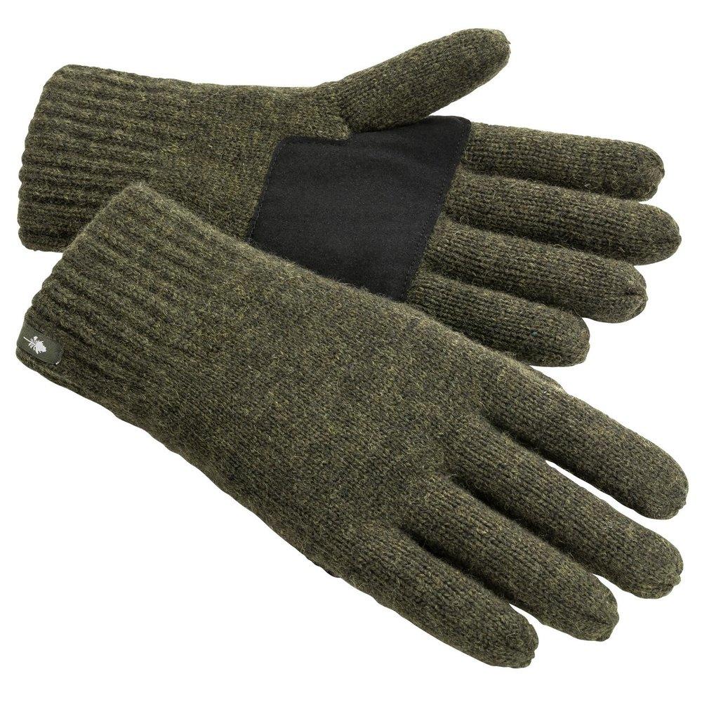 Wool Knitted Handske Pinewood - Mossgrön Melerad *